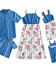 cheap -Family Sets Family Look Cotton Floral Print Picture Nature Daily Matching Outfits / Summer