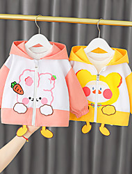 cheap -1pc Baby Girls' Jacket & Coat Casual Daily Daily Wear Cotton Blue Yellow Blushing Pink Animal Long Sleeve / 6 Month+
