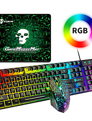 cheap -T6RGB Luminous Wired Gaming Keyboard and Mouse Set with Large Mouse Pad USB Colorful Backlit Mechanical Feel Keyboard