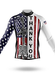 cheap -21Grams Men's Long Sleeve Cycling Jersey Spandex Blue+White American / USA Bike Top Mountain Bike MTB Road Bike Cycling Quick Dry Moisture Wicking Sports Clothing Apparel / Stretchy / Athleisure