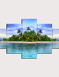 cheap -5 Panels Wall Art Canvas Prints Painting Artwork Picture Island Painting Home Decoration Decor Rolled Canvas No Frame Unframed Unstretched