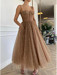 cheap -A-Line Elegant Prom Formal Evening Dress Spaghetti Strap Scoop Neck Sleeveless Ankle Length Lace with Pleats Ruched 2021