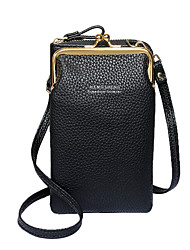 cheap -Women's Bags PU Leather Mobile Phone Bag Zipper Solid Color Daily Outdoor 2021 Blue Yellow Blushing Pink Black