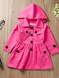 cheap -Kids Girls' Jacket & Coat Fuchsia Solid Colored Patchwork Cotton Basic Regular 2-6 Years
