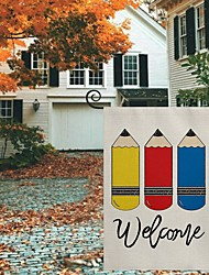 cheap -Welcome Back to School Garden Flag Double Sided Outdoor Holidays Yard Flag Holidays Vertical Flags