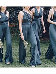 cheap -Jumpsuits V Neck Floor Length Charmeuse Bridesmaid Dress with Ruching