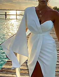 cheap -Women's A Line Dress Midi Dress White Black Sleeveless Solid Color Summer Sexy 2021 S M L XL