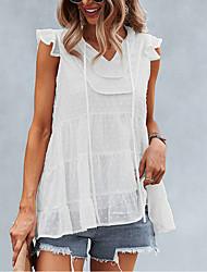 cheap -Women's Tank Top Vest Plain Lace up Lettuce Trim V Neck Basic Streetwear Tops Cotton Blue Army Green White