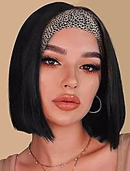 cheap -headband bob wig for black women, 8inch short straight black headbands wigs for women, glueless machine made wig with headband (black)(no colored headband)