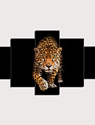 cheap -5 Panels Wall Art Canvas Prints Painting Artwork Picture Wildlife Leopard Animal Home Decoration Décor Rolled Canvas No Frame Unframed Unstretched