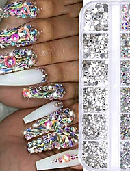 cheap -12 Grids Colorful Crystal Nail Art Rhinestones Acrylic Nail Stones Beads Studs Flat Back Glitter Tips 3D Nails Decorations