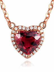 cheap -Women's Pendant Necklace Charm Necklace Classic Heart Precious Fashion Zircon Copper Gold Plated Red 45 cm Necklace Jewelry 1pc For Christmas Party Evening Street Gift Birthday Party