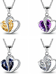 cheap -Women's Pendant Necklace Charm Necklace Classic Heart Precious Fashion Zircon Copper Silver Plated Blue Purple Champagne White 45 cm Necklace Jewelry 1pc For Christmas Party Evening Street Gift