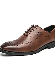 cheap -Men's Oxfords Formal Shoes Brogue Dress Shoes Business Classic Wedding Office & Career PU Non-slipping Wear Proof Black Brown Fall Winter