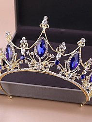 cheap -FORSEVEN Vintage Blue Crystal Bridal Tiaras and Crowns Hair Jewelry Gold Rhinestone Diadem Wedding Pageant Hair Accessories JL