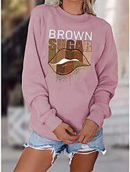 cheap -Women's Sweatshirt Pullover Text Lip Print Print Daily Sports Hot Stamping Cotton Sportswear Streetwear Hoodies Sweatshirts  Blue Wine Fuchsia