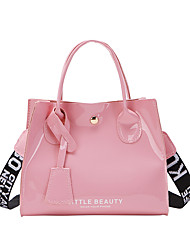 cheap -Women's Girls' Bags PU Leather Top Handle Bag Print Quotes & Sayings Daily Date Tote Handbags Blushing Pink Silver Black