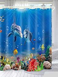 cheap -Underwater World Series Digital Printing Shower Curtain Shower Curtains  Hooks Modern Polyester New Design