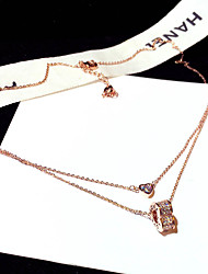 cheap -Women's AAA Cubic Zirconia Pendant Necklace Monogram Heart Dainty Simple Fashion Korean Brass Rose Gold 50 cm Necklace Jewelry 1pc For Party Evening Street Prom Birthday Party