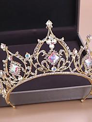 cheap -FORSEVEN Gold Color Diadem Bridal Hair Jewelry Crystal Beads Tiaras Rhinestone Crown Headpiece Women Wedding Hair Accessories JL