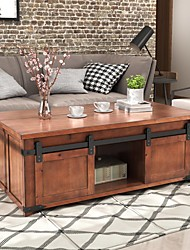 cheap -Modern Coffee Table,Brown Coffee Table With Storage Shelf and Cabinets Sliding Doors Living Room Furniture