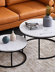 cheap -Modern Coffee Table,2PCS Modern Nesting Coffee Table / Black Color Frame With Marble Top Living Room Furniture