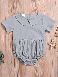 cheap -Baby Girls' Basic Solid Colored Patchwork Short Sleeves Romper Blushing Pink Gray Beige