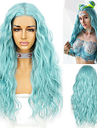 cheap -13*2.5 Blue Color Natural Water Wave Lace Front Wig for Women Heat Resistant Fiber Cosplay Makeup Wedding Party Wigs