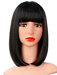cheap -Black Brown Highlight Wig With Bangs 12 Inches (About 30.5 cm) Short Straight Hair Bob Wig Color Synthetic Cosplay Daily Party Wig