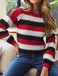 cheap -Women's Sweater Knitted Striped Color Block Casual Long Sleeve Sweater Cardigans Round Neck Winter Blue Purple khaki
