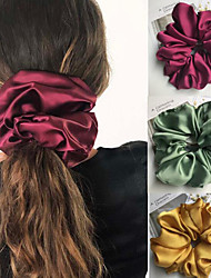 cheap -3 Pcs/set Styles Oversized Scrunchies Large Rubber Hair Ties Elastic Hair Bands Girs Ponytail Holders Smooth Satin Scrunchie Women Hair Accessories