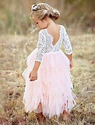 cheap -Kids Little Girls' Pink Party Princess Flower Lace Scalloped Tulle Back Backless Tutu Top Edges Tiered Girl Dress