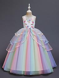 cheap -Kids Little Girls' Dress Unicorn Rainbow Costume Party Princess Flower Color Block Tulle Dress Birthday Layered Ruffled White Blushing Pink Maxi Sleeveless Princess Sweet Dresses 3-12 Years
