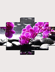 cheap -5 Panels Wall Art Canvas Poster Painting Artwork Picture Flowers Painting Home Decoration Decor Rolled Canvas No Frame Unframed Unstretched