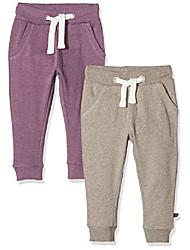 cheap -baby_girl's 2er pack sweat pants/freizeithose für mädchen track bottoms, multicoloured (purple/grey 647), 9-12 months