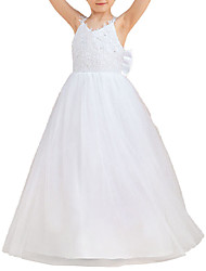 cheap -A-Line Floor Length Flower Girl Dresses Party Chiffon Sleeveless Spaghetti Strap with Bow(s)