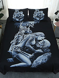 cheap -3D Skull Duvet Cover Set King Size My Love for You Will Never Printed Bedding Duvet Cover with Zipper Closure Ties for Adults Soft Microfiber(1 Duvet Cover Set  2 PillowShams)