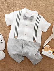 cheap -Baby Boys' Basic Striped Color Block Bow Print Short Sleeves Romper White