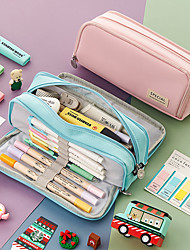cheap -simple large-capacity pencil case with double windows