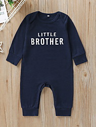 cheap -Baby Boys' Basic Letter Print Long Sleeve Romper Dusty Blue