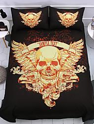 cheap -Bedding Skull Comforter Set Golden Shield Skull Bedding Sets with Comforter Boys Girls 3 Piece Ghost Skeleton Bed Set(1 Duvet Cover  2 Pillow Shams)