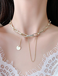 cheap -european and american exaggerated personality fashion flashing diamond chain tassel metal necklace temperament trend line punk short necklace