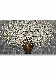 cheap -Oil Painting Handmade Hand Painted Wall Art Plant Flowers White Grey 3D Palette Knife Home Decoration Decor Stretched Frame Ready to Hang