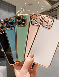 cheap -Phone Case For Apple Back Cover iPhone 13 12 Pro Max Mini 11 X XR XS Max 8 7 Shockproof Dustproof Plating Solid Colored TPU / Case*1 / Camera Lens Protector