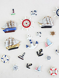 cheap -Mediterranean Style Resin Anchor Helmsman Sailboat Swimming Ring Refrigerator Magnetic Paste Magnet Decoration Paste