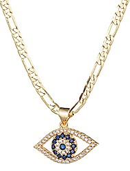 cheap -evil eye necklace for women | 18k gold plated cubic zirconia inlay evil eye pendant necklace | 3mm figaro chain necklace 18/22 inches (18)