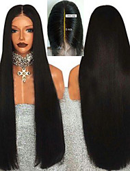 cheap -13*6 Fashionable Chemical Fiber Front Lace Wig Black Long Straight High Temperature Silk Front Lace Headgear 13*6 Wide Hand Hook