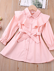 cheap -Kids Toddler Little Girls' Dress Solid Colored Blushing Pink Cotton Knee-length Long Sleeve Basic Cute Dresses Children's Day 2-6 Years