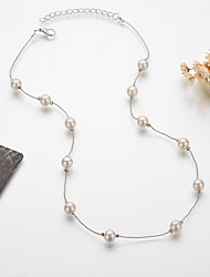 cheap -Women's Necklace Classic Friends Simple Romantic Classic Holiday Imitation Pearl Alloy Silver 45 cm Necklace Jewelry 1pc For Wedding Street Sport Birthday Party Festival