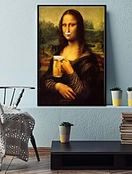 cheap -Wall Art Canvas Prints Painting Artwork Picture Mona Lisa Beer Figure Portrait Home Decoration Décor Rolled Canvas No Frame Unframed Unstretched